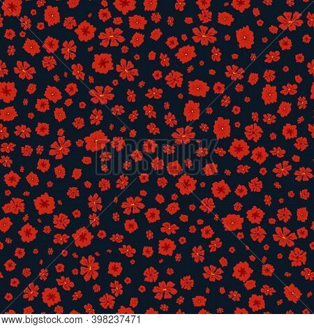 Vector Seamless Pattern With Small Scattered Flowers. Liberty Style Print. Elegant Floral Background