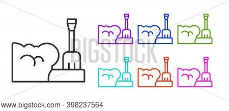 Black Line Shovel In Snowdrift Icon Isolated On White Background. Set Icons Colorful. Vector