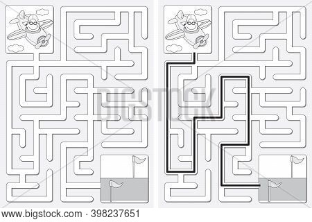 Easy Little Star Flying An Airplane Maze For Younger Kids With A Solution In Black And White