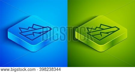 Isometric Line Mountain Descent Icon Isolated On Blue And Green Background. Symbol Of Victory Or Suc
