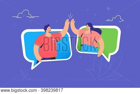 Friendly Chat And Online Conversation Between Two Friends. Concept Vector Illustration Of Two Friend