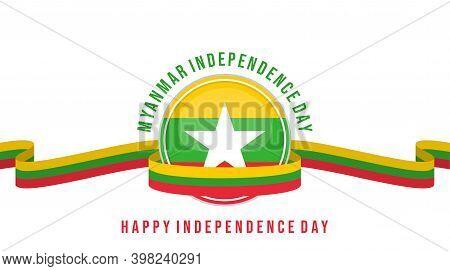 Myanmar Emblem Flag With Myanmar Flag Ribbon Vector Illustration. Template For Myanmar Independence