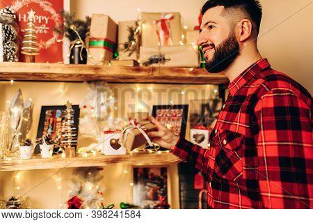 Christmas Young Man, At Home In A Christmas Interior, Christmas, Holiday