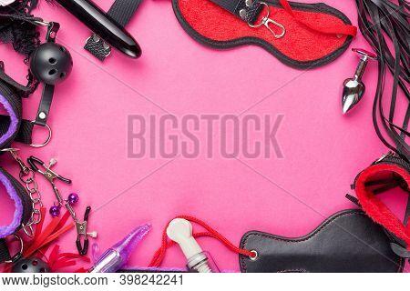 Intimate Games. Bdsm Sex Tools Dildo Vibrator, Female Panties, Gag, Nipple Clamps, Handcuffs, Blindf
