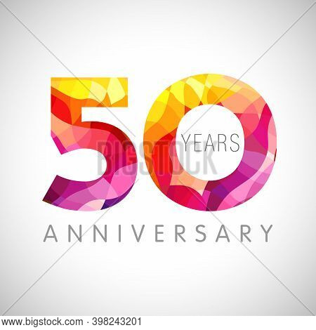 50 Th Anniversary Numbers. 50 Years Old Coloured Congrats. Cute 3d Congratulation Concept. Isolated