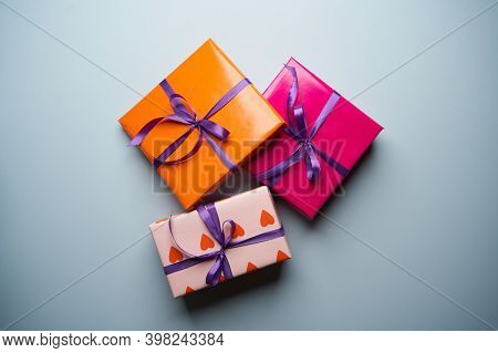 Gift Boxes Collection For Christmas. Wrapping Colorful Gift Boxes