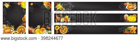 Horizontal Banners With Apples, Apple Slices, Apple Pies, Apple Juice Jug, Basket Of Harvest