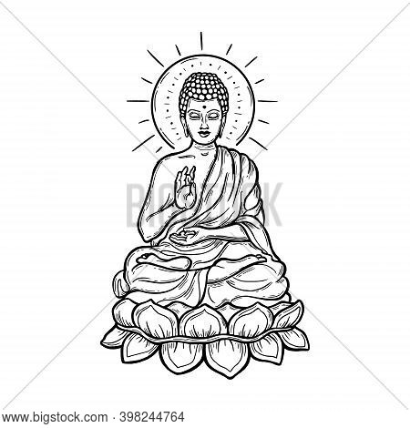 Seated Buddha Over A Round Mandala. Esoteric Linear Vector Illustration. Engraving. Indian, Buddhism
