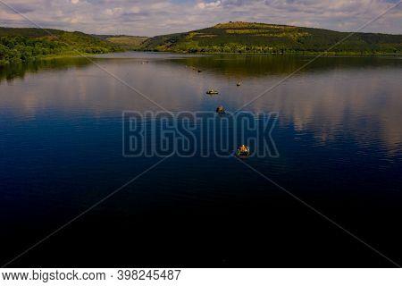 Fishermen On Board A Fishing Boat At Sunset, Fisherman Life Style