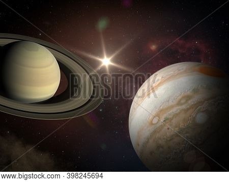 Great Conjunction: Jupiter And Saturn Meet On Solstice. Rare Jupiter-saturn Conjunction. Elements Of