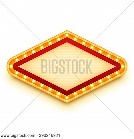 Vintage Light Sign With Glowing Bulbs. Wall Signage With Marquee Lights. Retro Frame With Light Bulb
