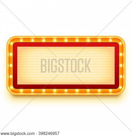 Vintage Lightbox With Glowing Bulbs. Wall Light Sign With Marquee Lights. Retro Frame With Light Bul