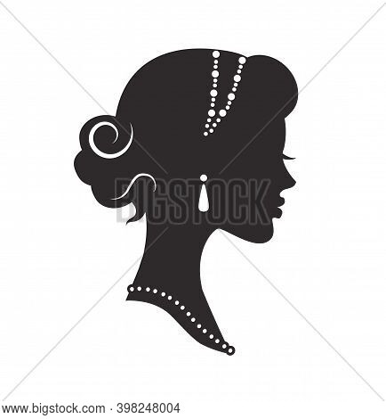 Graceful Silhouette Of A Woman's Head In Profile With A Beautiful Hairstyle And A Headband On A Case
