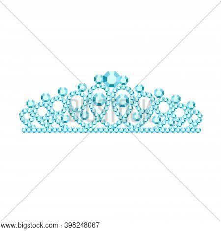 Beautiful Tiaras, Crowns, Tiaras Of A Woman With Precious Stones. Vector Illustration. Icon