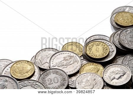 Swiss Franc Coins With Copy Space