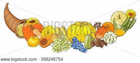 Autumn Seamless Pattern Of Elements With Thanksgiving Symbols, Cornucopia, Turkey, Fruits, Pumpkins