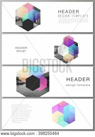 Vector Layout Of Headers, Banner Design Templates With Colorful Hexagons, Geometric Shapes, Tech Bac