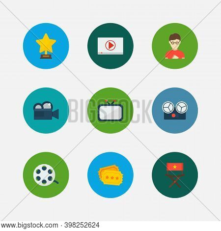Cinema Icons Set. Play Video And Cinema Icons With Cinema Tape, Television And Cinema Ticket. Set Of
