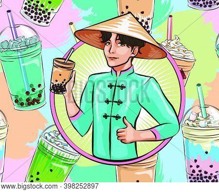 Vietnamese Young Man Holding Bubble Tea, Seamless Pattern Bubble Tea. Popular Asian Cold Drinks, Pea