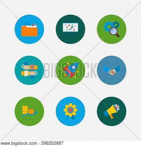 Technology Collaboration Icons Set. Technical Strategy And Technology Collaboration Icons With Marke