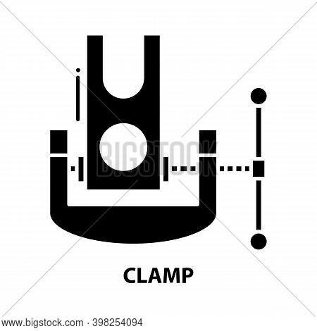 Clamp Icon, Black Vector Sign With Editable Strokes, Concept Illustration