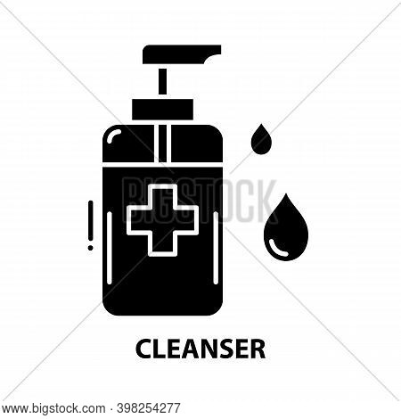 Cleanser Symbol Icon, Black Vector Sign With Editable Strokes, Concept Illustration