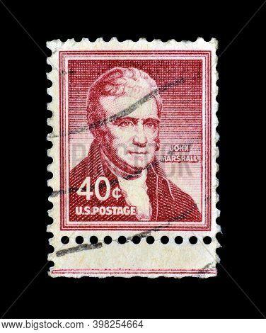 Usa - Circa 1955 : Cancelled Postage Stamp Printed By Usa, That Shows John Marshall, Circa 1955.