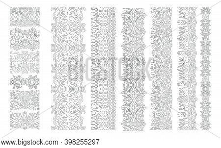 Beautiful Monochrome Illustration For Coloring Book With Eastern Seamless Paint Brushes Set Isolated