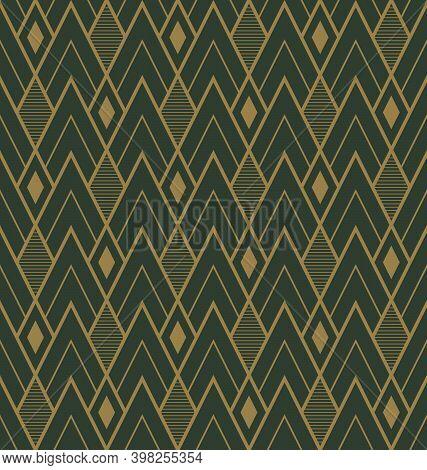 Golden Diamond Shape On A Green Background, Art Deco Style. Seamless Geometric Pattern. Vector Illus