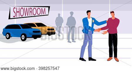 Car Showroom With Seller And Buyer When Concluding A Deal, Flat Vector.