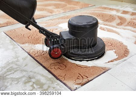 Carpet Chemical Cleaning With Professionally Disk Machine. Early Spring Cleaning Or Regular Clean Up