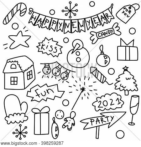 New Year Party Doddle Icons. Outline Isolated Chrismas And New Year Icon Set. Handdrawn Cute Picture