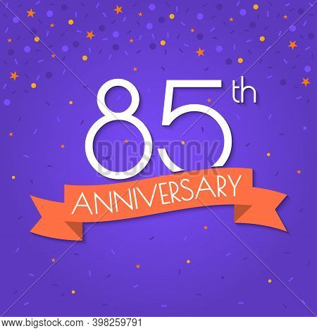 85 Years Anniversary Logo Isolated On Confetti Background. 85th Anniversary Banner With Ribbon. Birt