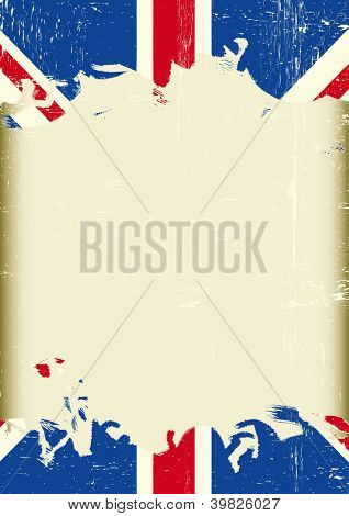 Grunge british flag. A dirty british flag with a large frame for your message.