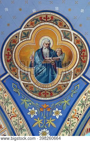 ZABOK, CROATIA - JULY 06, 2013: Saint Matthew the Evangelist, fresco in the parish church of Helena in Zabok, Croatia