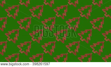 Background Of Many Red Christmas Trees On Green