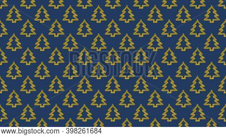 Background Of Many Gold Christmas Trees On Dark Blue