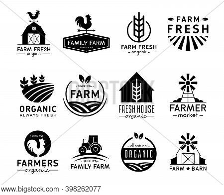 Vector Illustration Set Of Organic Products Logos And Labels. Farm Logos, Fresh And Healthy Food Log