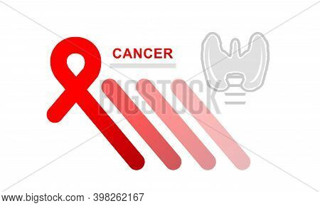 Vector Concept Banner Red Color Ribbon Thyroid Cancer, Hope And Support On White Background