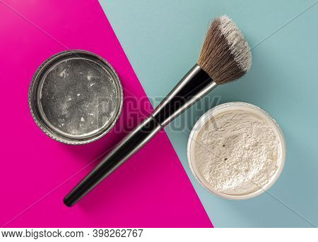 Powder Mineral Transparent Crumbly. Makeup. Facial. Cosmetic. Space For Text.