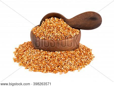 Millet In Wooden Bowl And Spoon, Isolated On White Background. Unpeeled Millet Seeds.