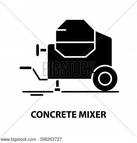 Concrete Mixer Icon, Black Vector Sign With Editable Strokes, Concept Illustration