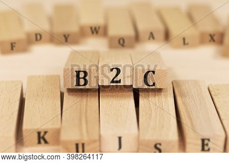 B2c Business To Consumer Word On Wood Blocks. Business Concept