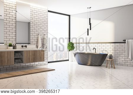 Modern Bathroom Interior With Black Bath, Two Mirrors And City View. Design, Apartment And Hotel Con