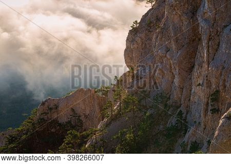The Magnificent View From Ai-petri Mountain, Crimea, At Sunrise. Ocean Of A Cloud And Sky Of Dawn. C