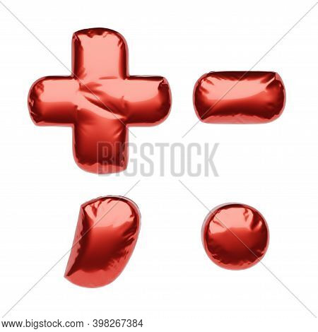 Punctuation Marks Made Of Red Inflatable Balloon Isolated On White Background. 3d Rendering Illustra