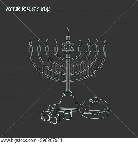 Hanukkah Icon Line Element. Vector Illustration Of Hanukkah Icon Line Isolated On Clean Background F