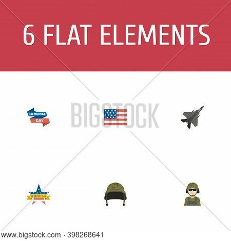 Set Of History Icons Flat Style Symbols With Headgear, Soldier, Flag And Other Icons For Your Web Mo