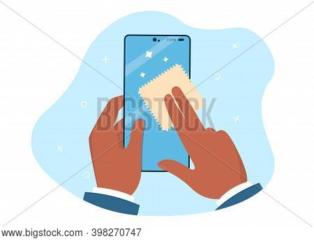 Hands Are Holding And Cleaning Mobile Phone Screen With A Napkin. Napkin Turns Dirty Surface With Mi
