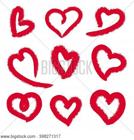 Grunge Red Hearts. Elegant Love Hearts, Hearted Shape Stamp Isolated Vector Set.